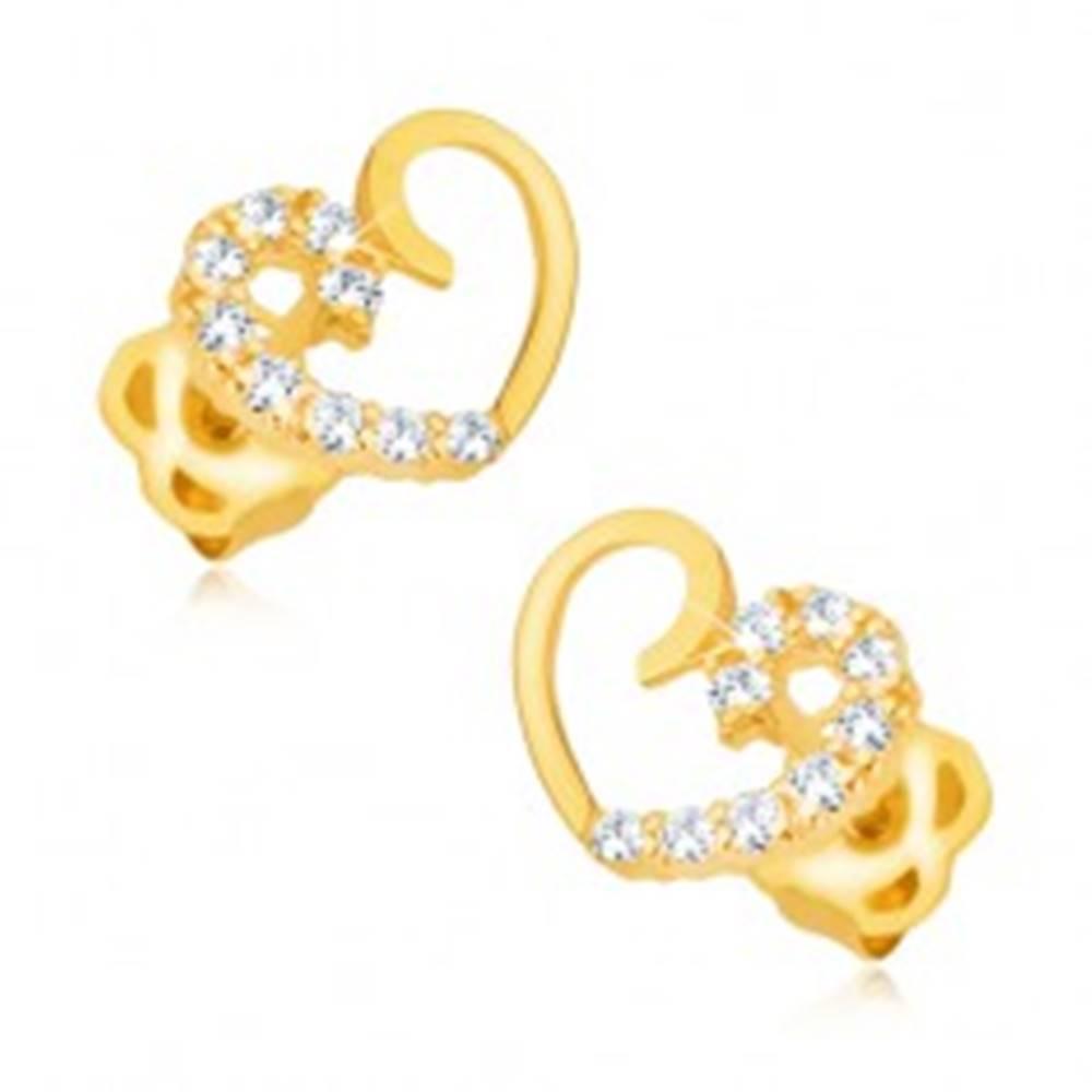 Šperky eshop Náušnice zo žltého 14K zlata - kontúra symetrického srdca, polovica s briliantmi