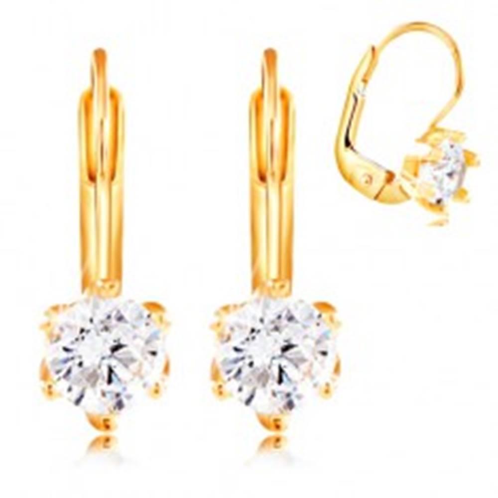 Šperky eshop Náušnice zo žltého 14K zlata - okrúhly číry zirkón v šesťcípom kotlíku, 4,5 mm