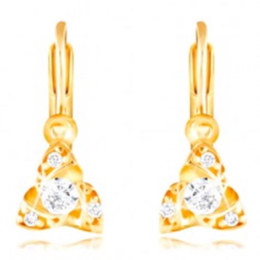 Šperky eshop Náušnice zo žltého 14K zlata - tri malé oblúčiky, okrúhly číry zirkón