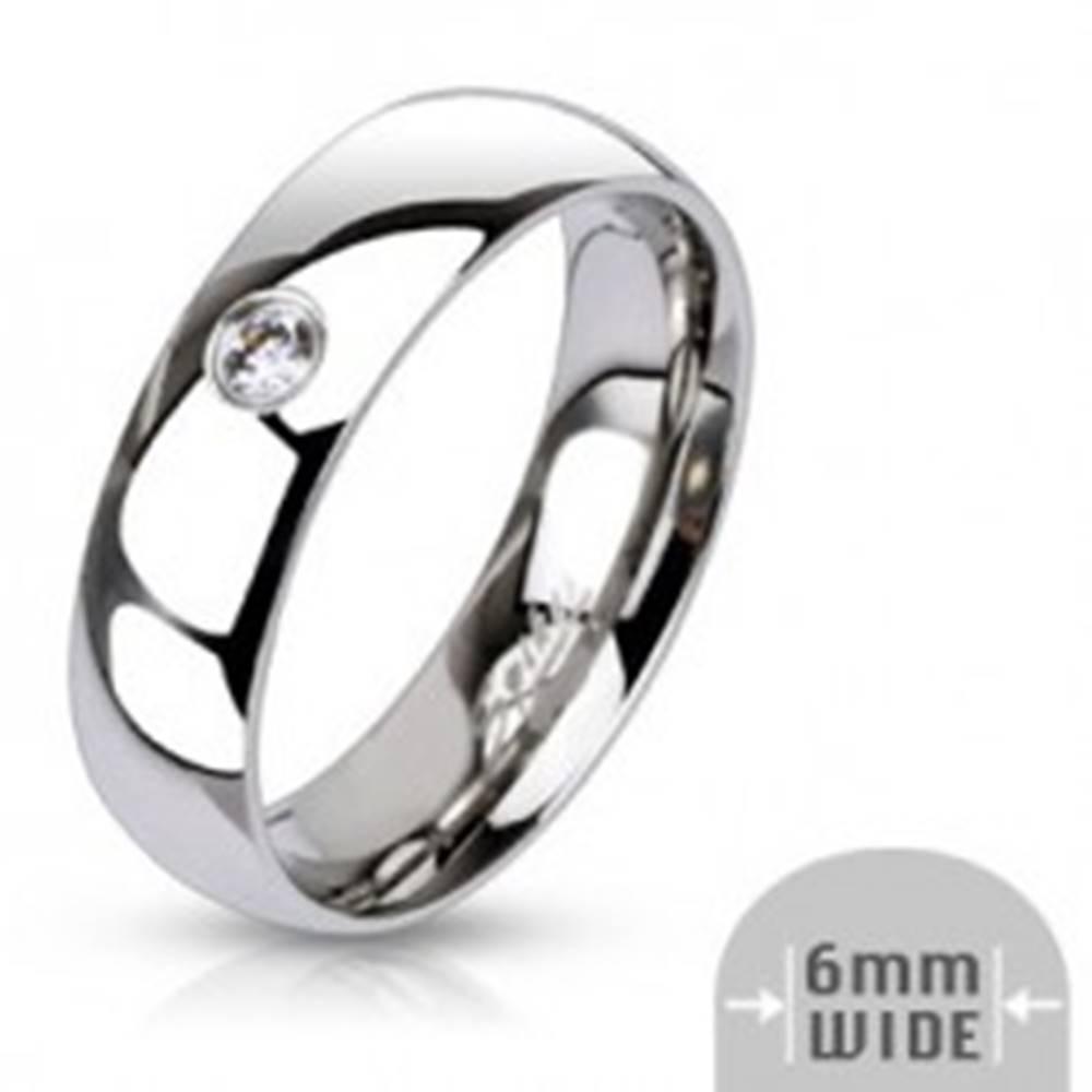 Šperky eshop Obrúčka z chirurgickej ocele - zrkadlový lesk, vsadený zirkón, 6 mm - Veľkosť: 49 mm