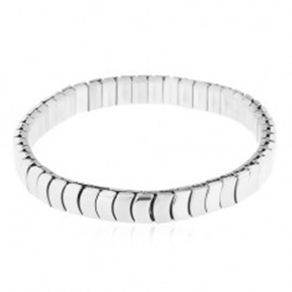Šperky eshop Oceľový náramok striebornej farby - rozťahovací, lesklé a matné oblé články