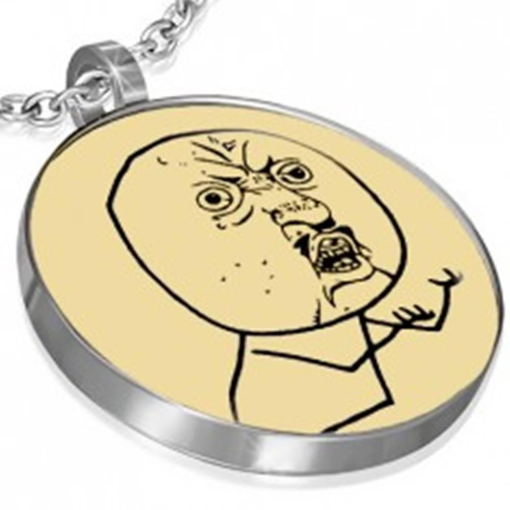 Šperky eshop Oceľový prívesok MEME FACE - QUESTIONER