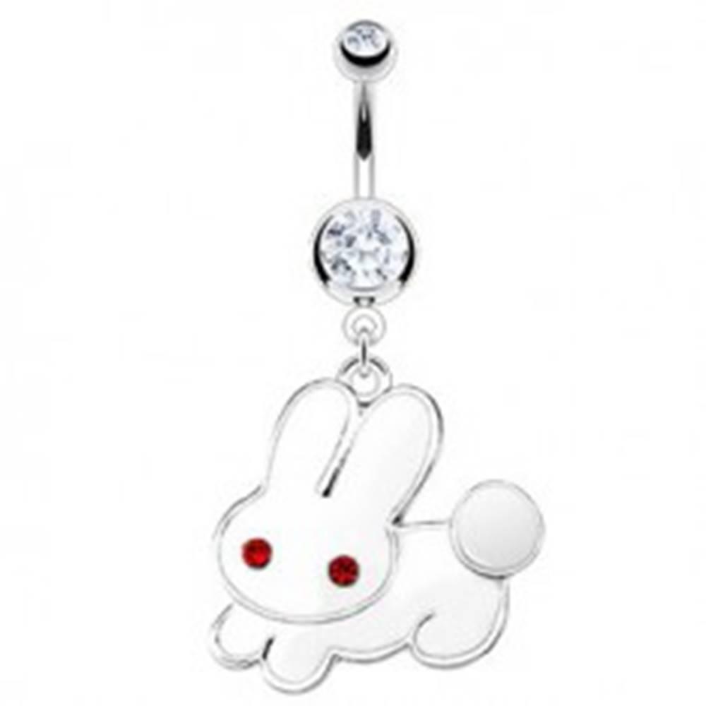 Šperky eshop Piercing do brucha - biely zajac, červené zirkónové oči