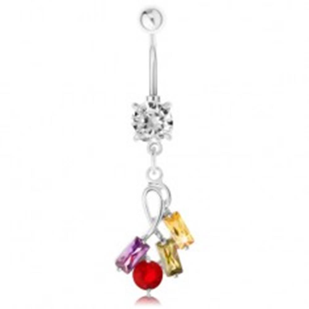 Šperky eshop Piercing do bruška z ocele, strieborná farba, farebné zirkónové obdĺžniky a kruhy