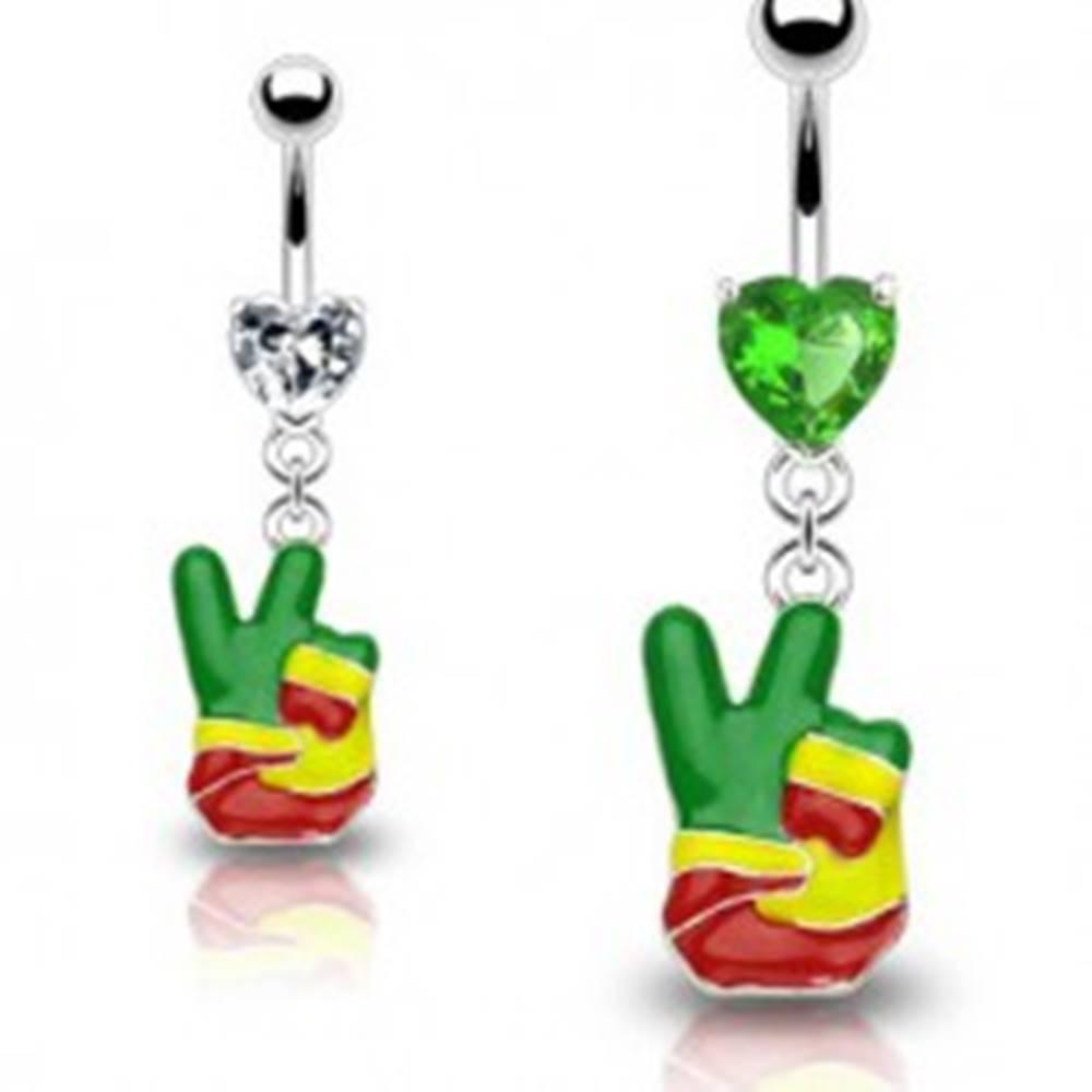 "Šperky eshop Piercing do pupka - rasta ruka, symbol ""PEACE"", srdcové zirkóny - Farba zirkónu: Číra - C"