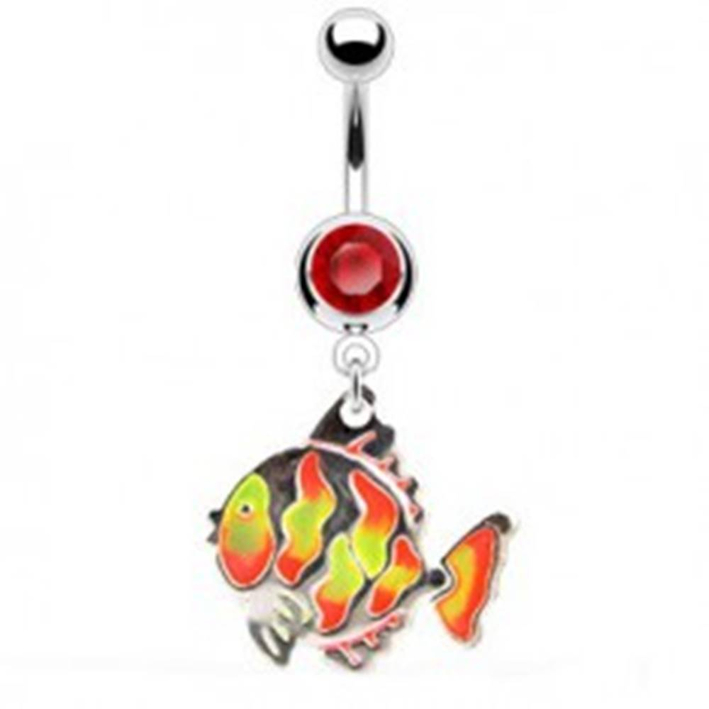 Šperky eshop Piercing do pupka - rybka, farebné šupinky, zirkón