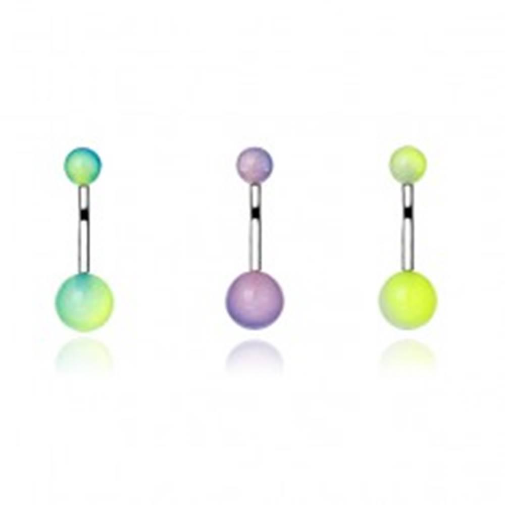 Šperky eshop Piercing do pupka z ocele - dvojfarebné UV guličky - Farba piercing: Biela-Zelená