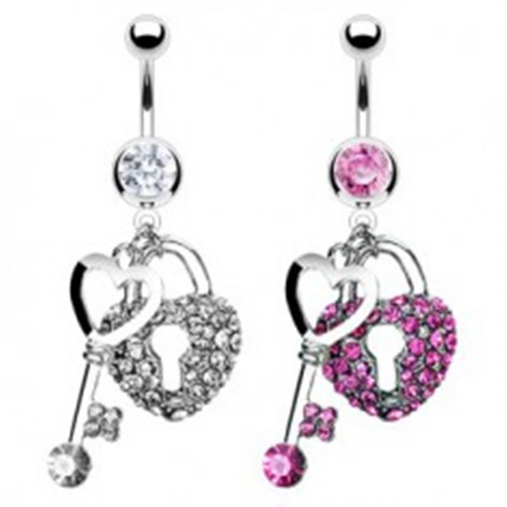 Šperky eshop Piercing do pupku - srdce a kľúč, vykladané zirkónmi - Farba zirkónu: Číra - C