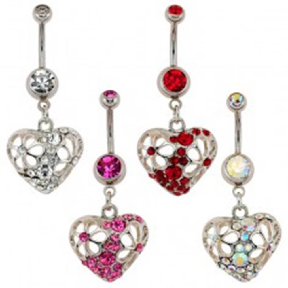 Šperky eshop Piercing do pupku - srdce, vykrajované kvety, zirkóny - Farba: Červená