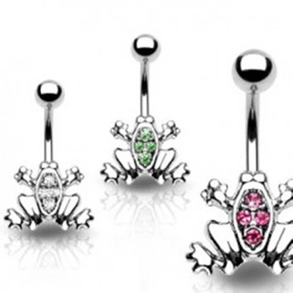 Šperky eshop Piercing do pupku - žabka, zirkóny na chrbte, pevný úchyt - Farba zirkónu: Číra - C