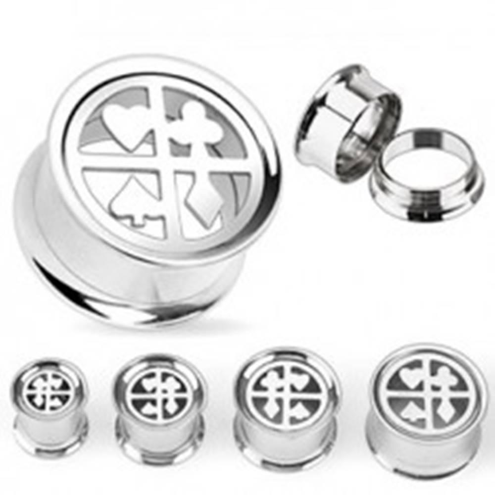 Šperky eshop Plug do ucha z chirurgickej ocele - kartové symboly - Hrúbka: 10 mm