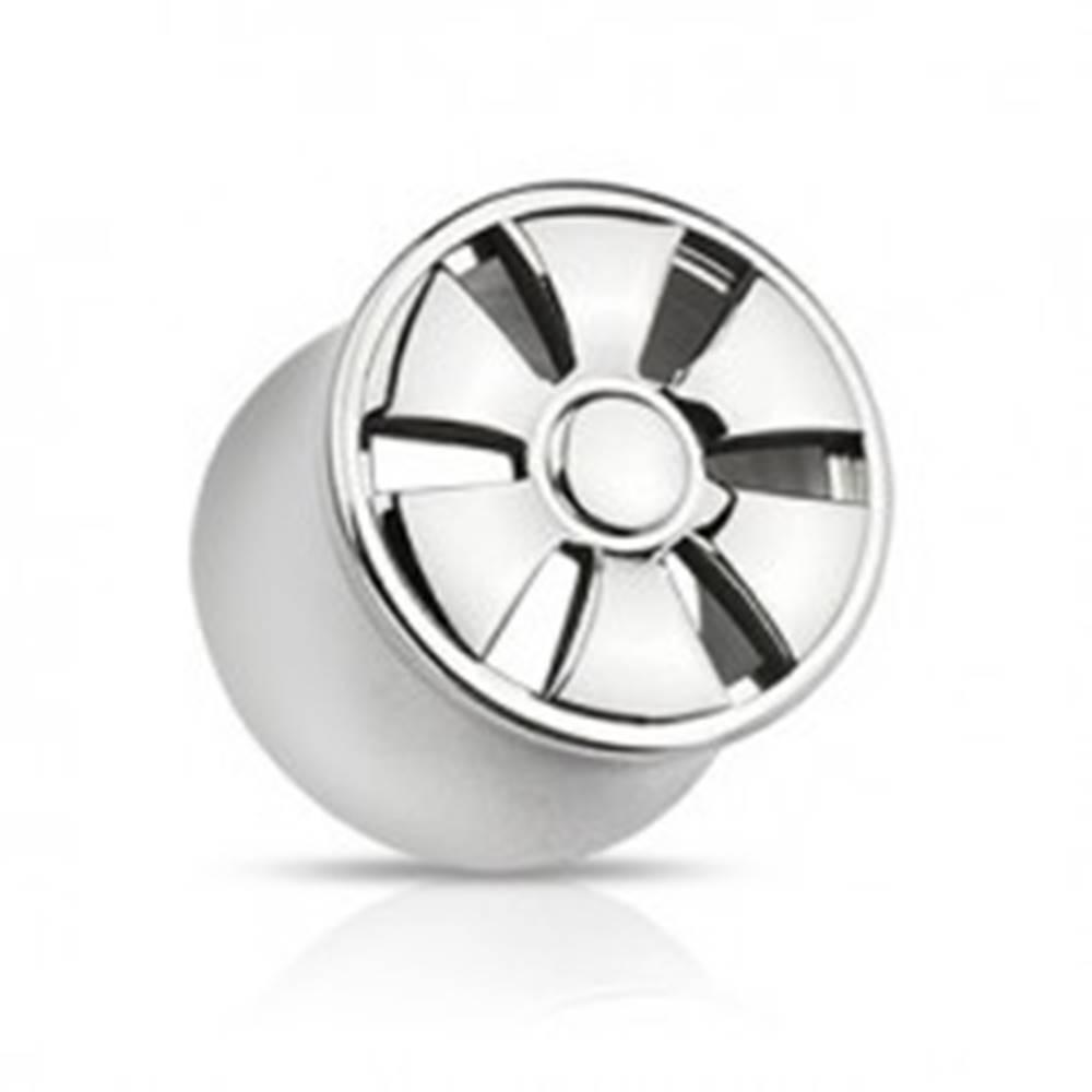 Šperky eshop Plug do ucha z ocele - sedlový, dizajn ELEKTRÓNY - Hrúbka piercingu: 10 mm