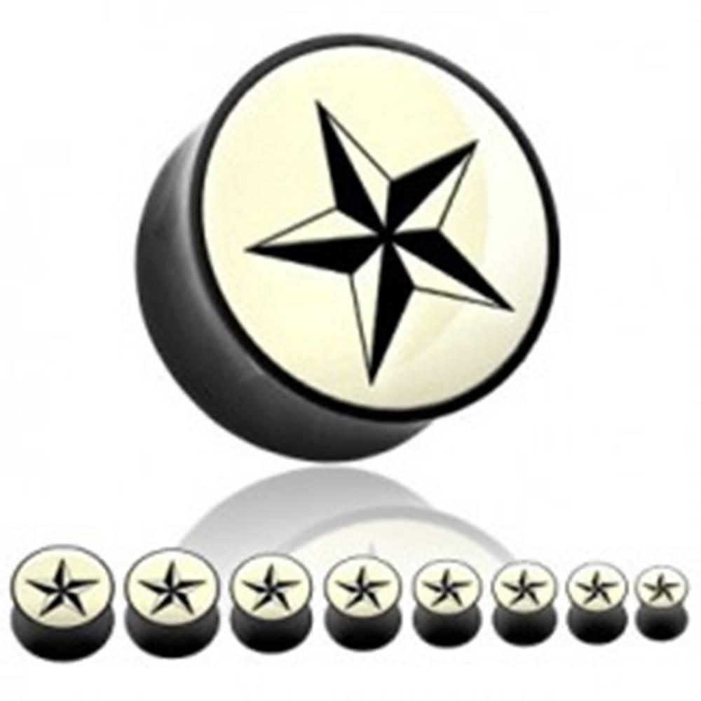 Šperky eshop Plug do ucha z organického materiálu - čierna hviezda - Hrúbka: 19 mm