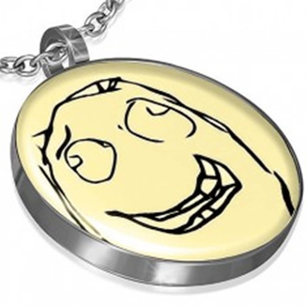 Šperky eshop Prívesok MEME FACE z ocele - HEHE MEME
