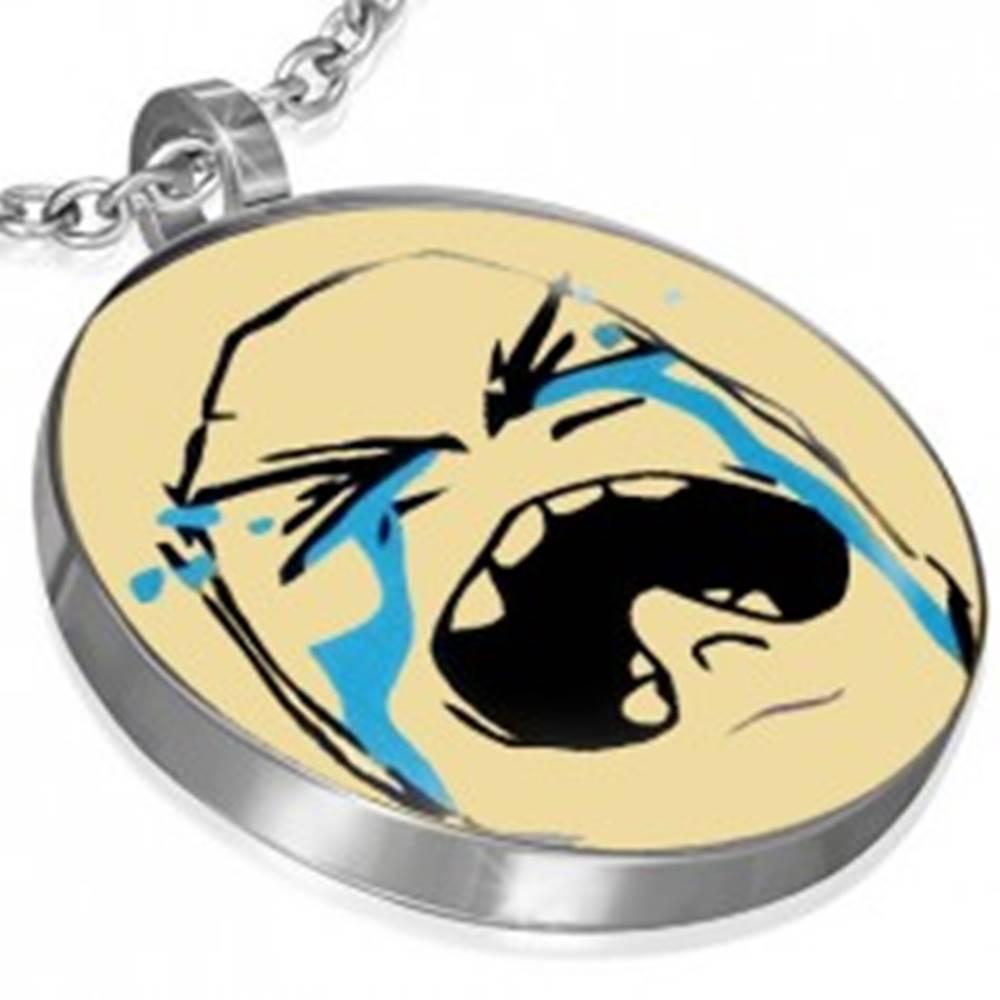 Šperky eshop Prívesok MEME z ocele - CRYING BAWW FACE