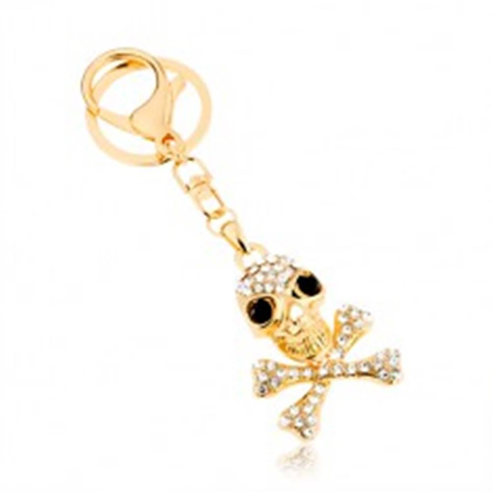 Šperky eshop Prívesok na kľúče, zlatý odtieň, lebka s prekríženými kosťami, zirkóny