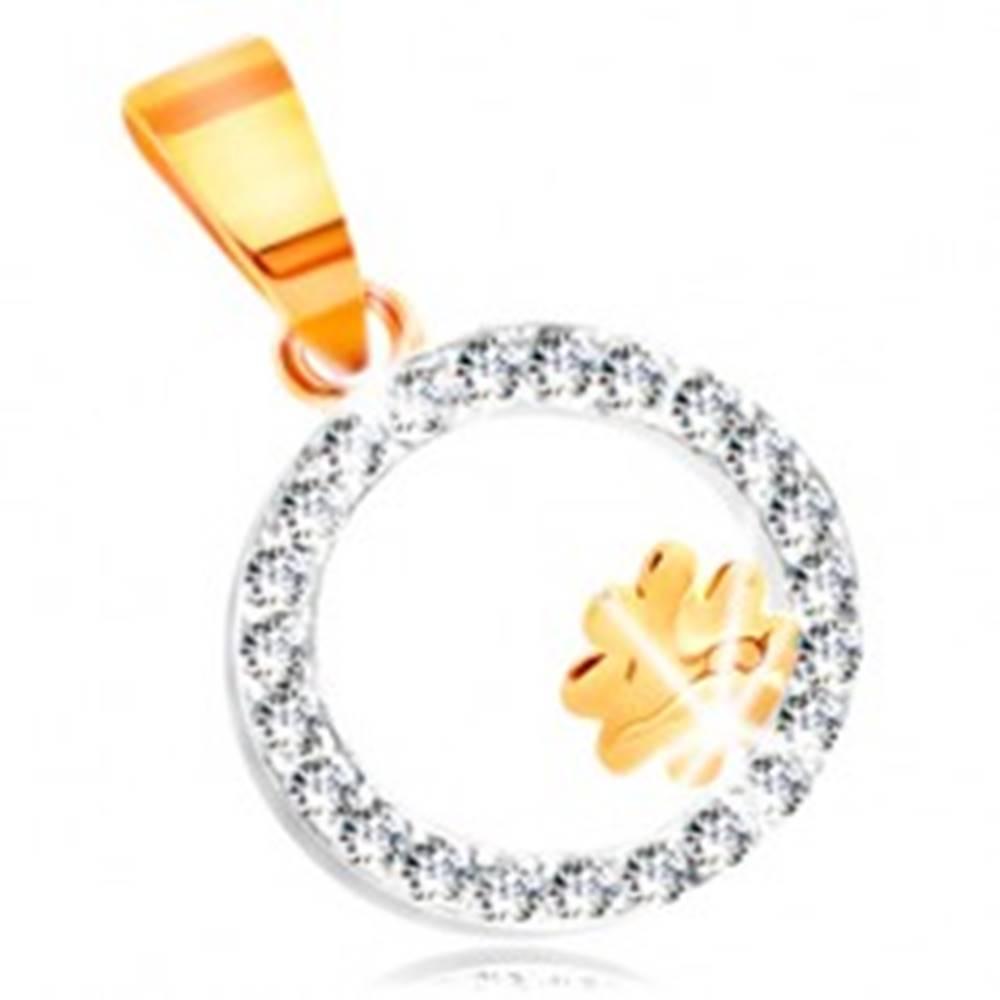 Šperky eshop Prívesok z kombinovaného 14K zlata - štvorlístok v obruči z čírych zirkónov