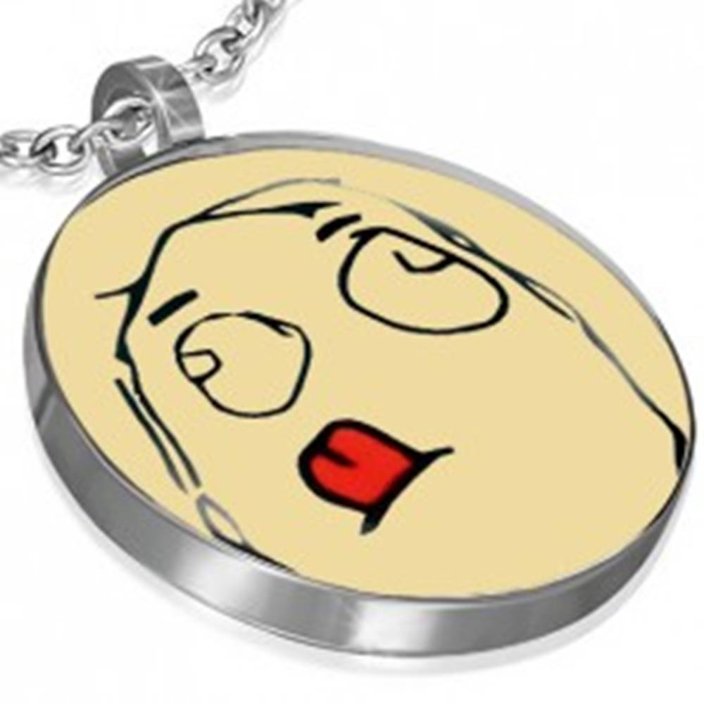 Šperky eshop Prívesok z ocele MEME FACE - CONCENTRATED