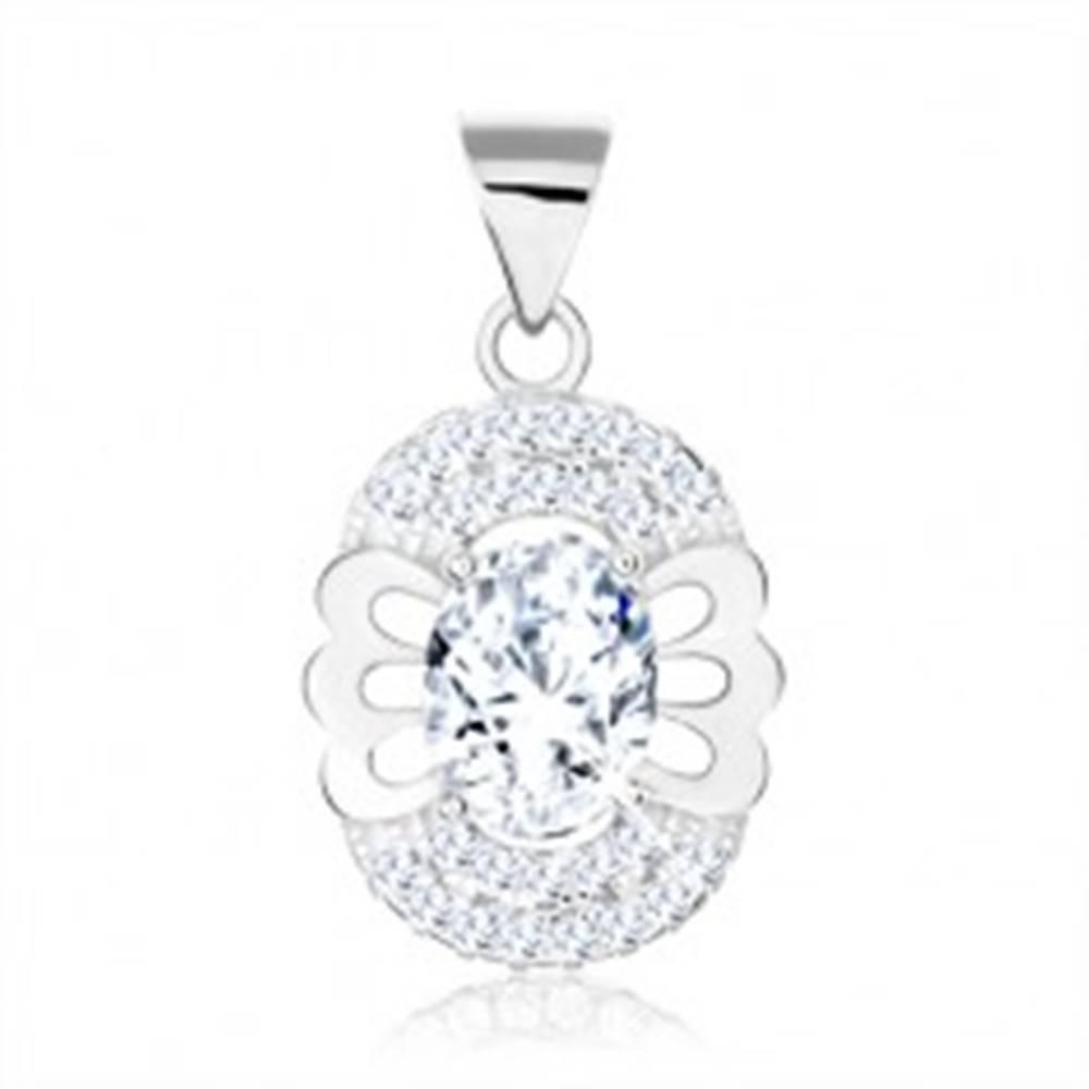 Šperky eshop Prívesok zo striebra 925, oválny číry zirkón, motýľ, dvojitý zirkónový lem