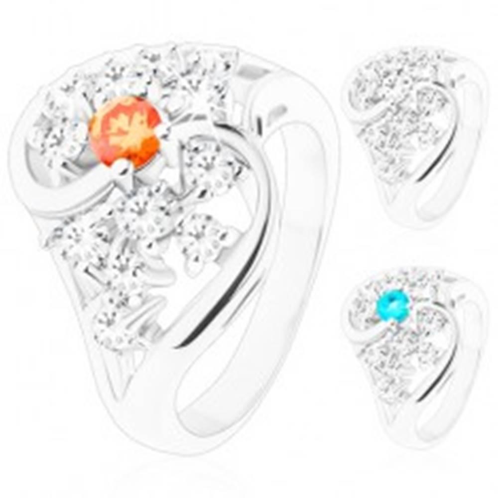 Šperky eshop Prsteň s rozdelenými zvlnenými ramenami, strieborný odtieň, brúsené zirkóny - Veľkosť: 49 mm, Farba: Svetlomodrá