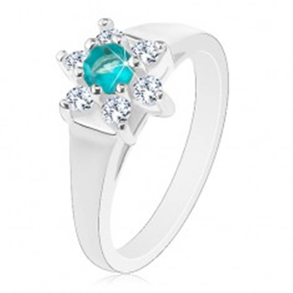 Šperky eshop Prsteň so svetlomodrým okrúhlym zirkónom a čírou obrubou, rozšírené ramená - Veľkosť: 55 mm