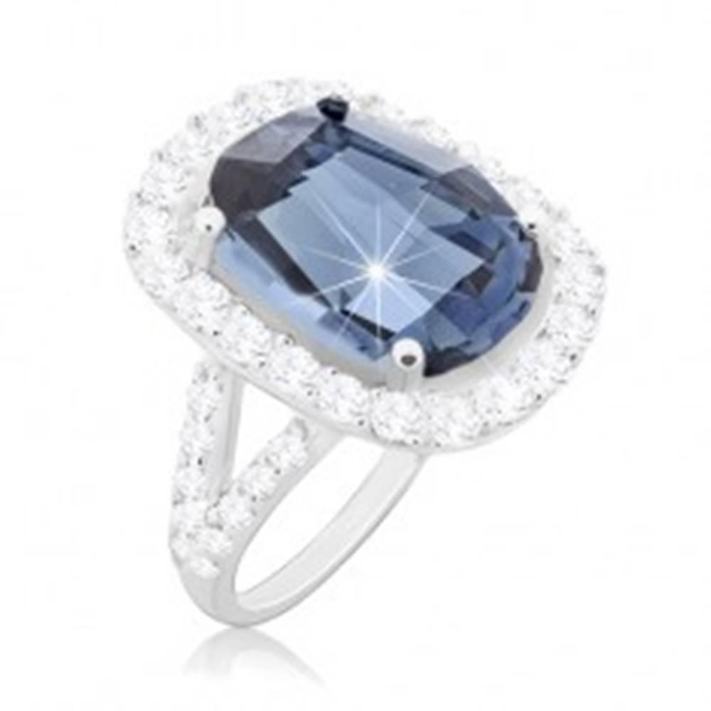Šperky eshop Prsteň zo striebra 925, veľký brúsený zirkón modrej farby s čírou obrubou - Veľkosť: 49 mm