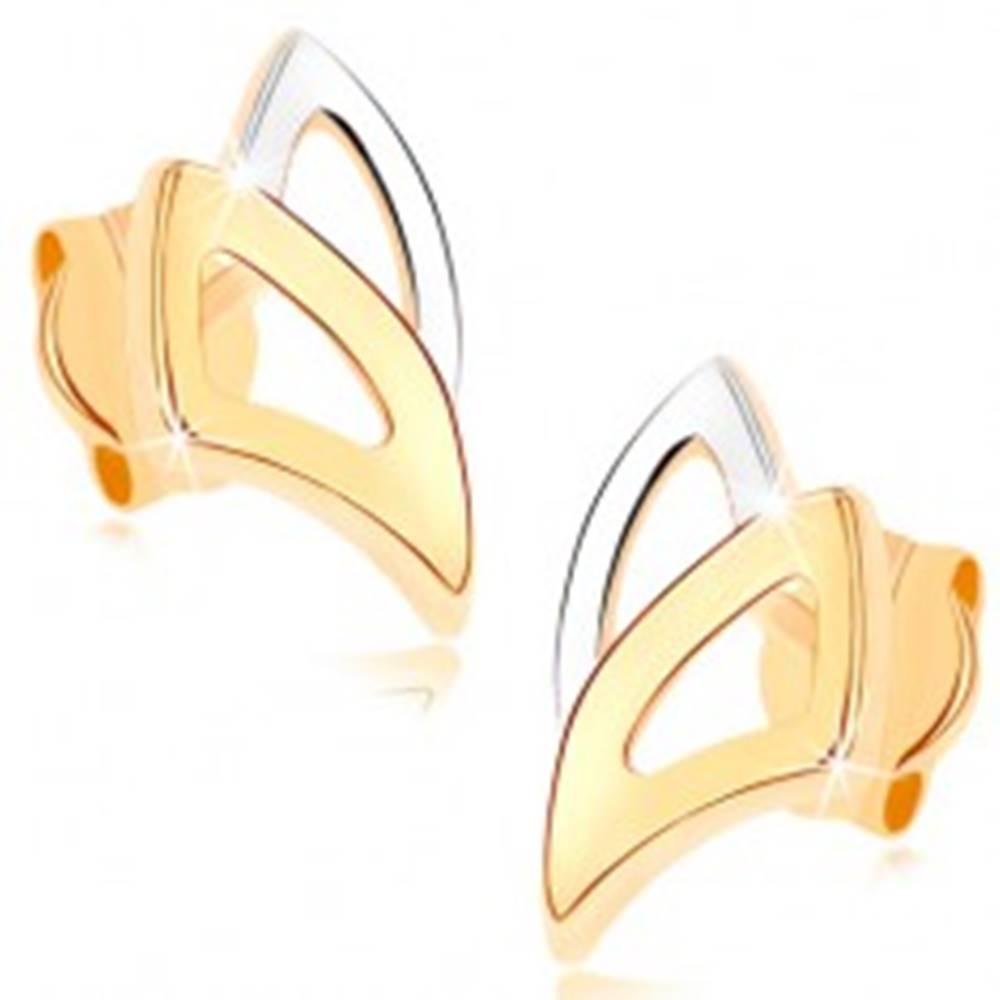 Šperky eshop Puzetové náušnice v žltom 9K zlate - dvojfarebné obrysy trojuholníkov
