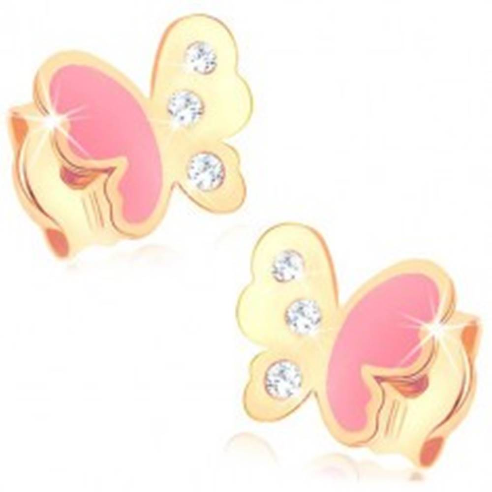 Šperky eshop Puzetové náušnice v žltom 9K zlate, motýlik zdobený ružovou glazúrou