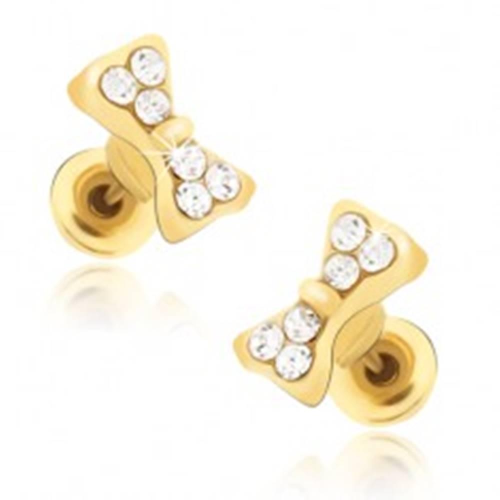 Šperky eshop Puzetové náušnice zlatej farby, zirkónové mašličky