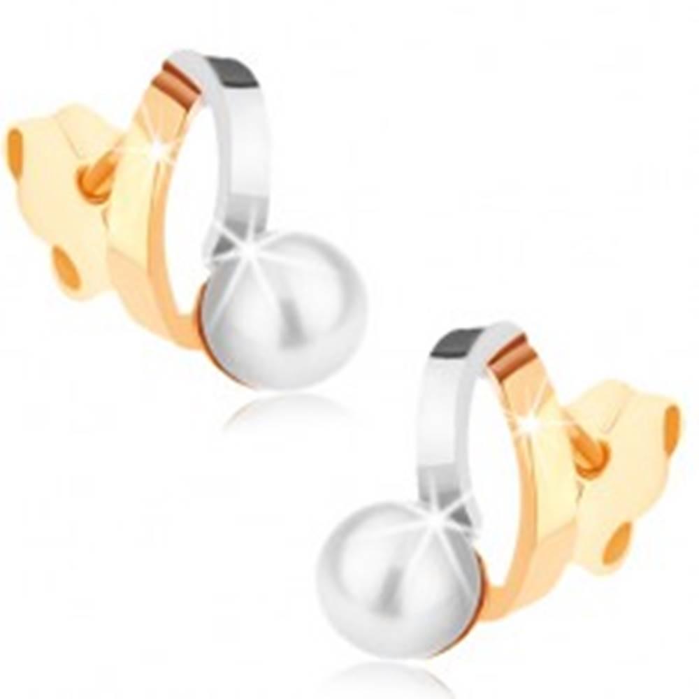 Šperky eshop Ródiované náušnice z 9K zlata - dvojfarebné oblúčiky, perla bielej farby
