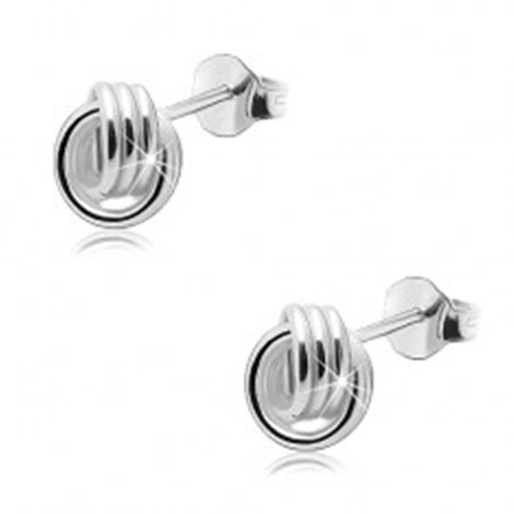 Šperky eshop Strieborné 925 náušnice, lesklý uzol - prepojené trojité obruče, puzetky