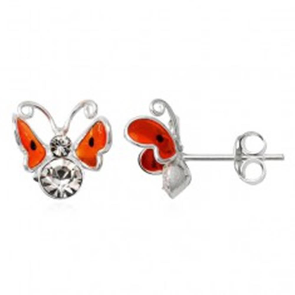 Šperky eshop Strieborné náušnice 925 - 3D oranžový motýľ, čierne bodky