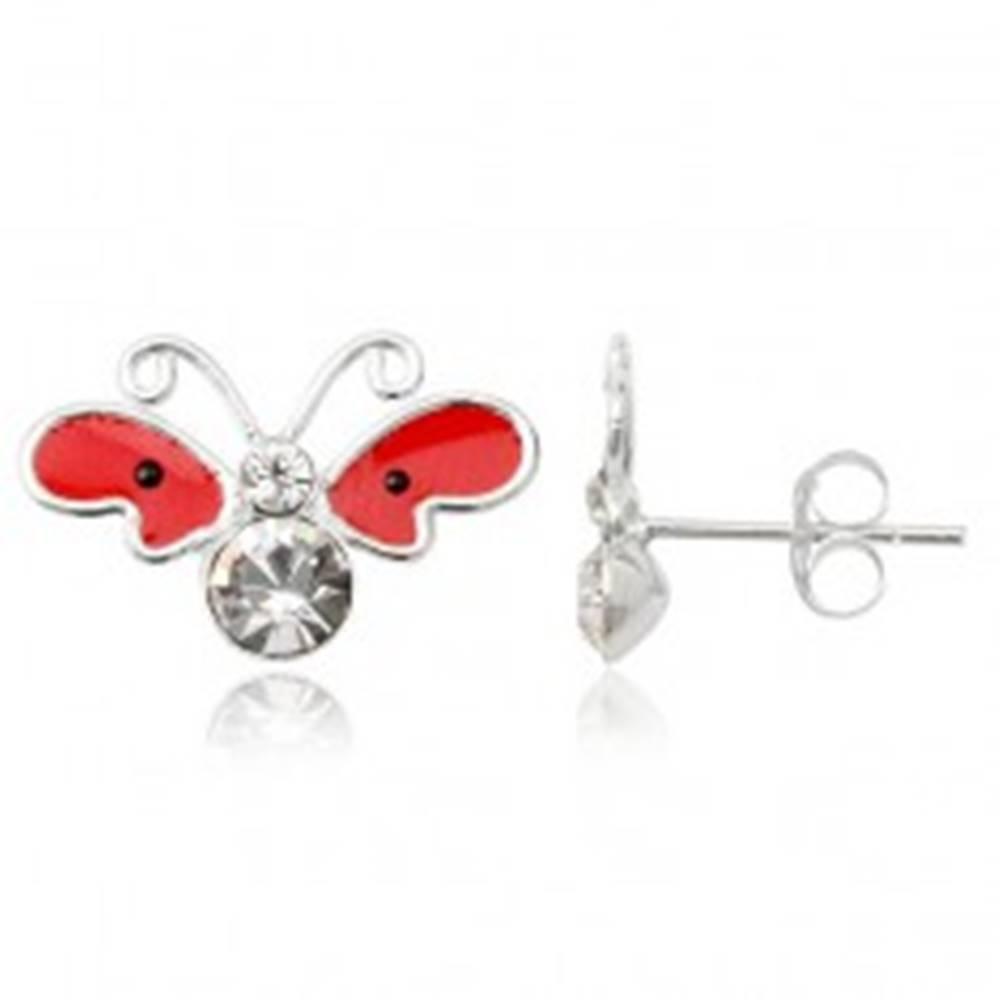 Šperky eshop Strieborné náušnice 925 - motýľ, červené krídla s čiernymi bodkami