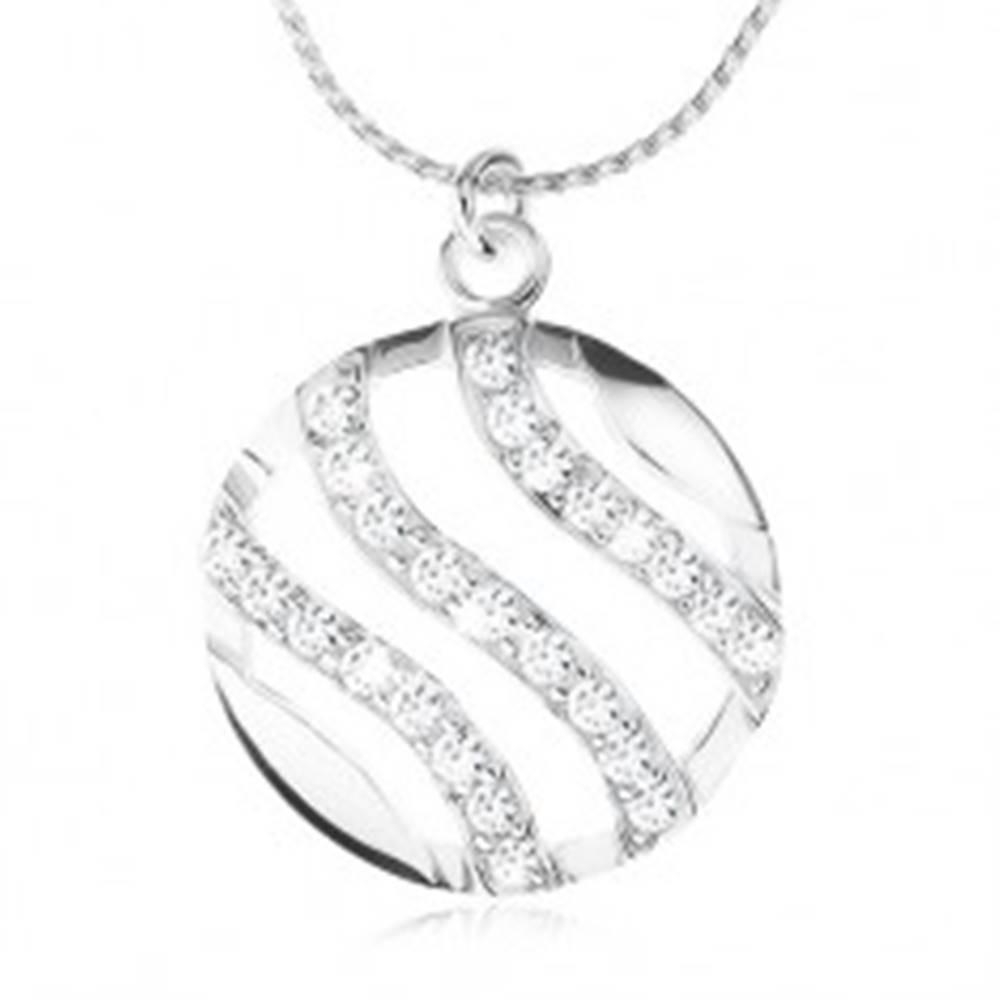 Šperky eshop Strieborný náhrdelník 925, retiazka a okrúhly prívesok, vlnky vykladané zirkónmi