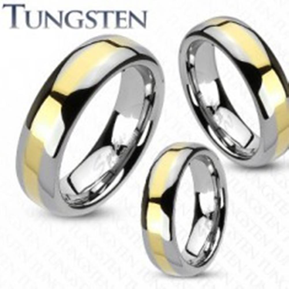 Šperky eshop Wolfrámová obrúčka - prúžok zlatej farby, 4 mm - Veľkosť: 49 mm