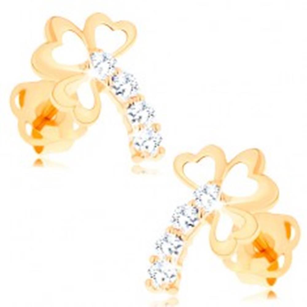 Šperky eshop Zlaté diamantové náušnice 14K - trojlístok s trblietavou stonkou, číre brilianty