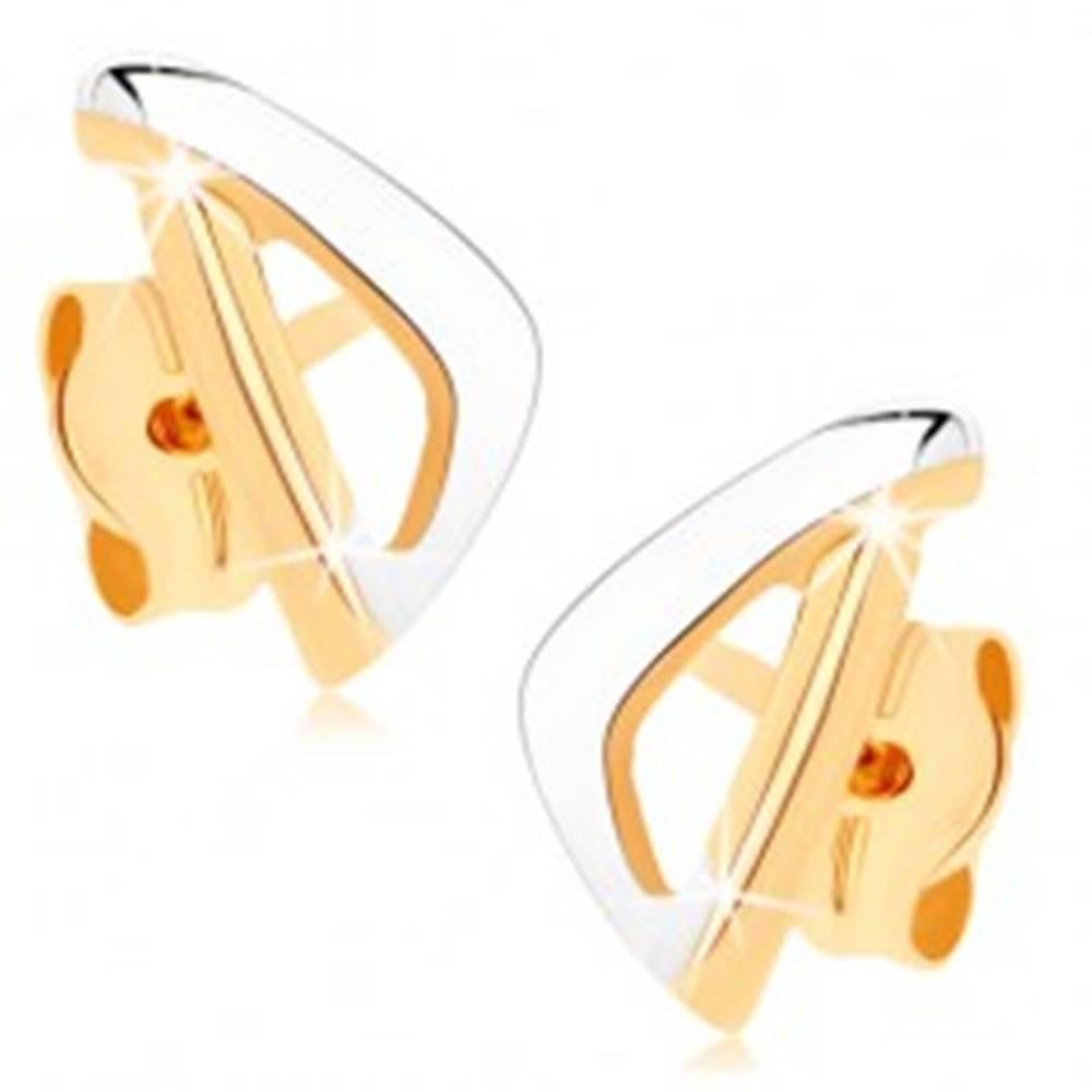 Šperky eshop Zlaté náušnice 375 - asymetrický obrys trojuholníka v dvoch farbách