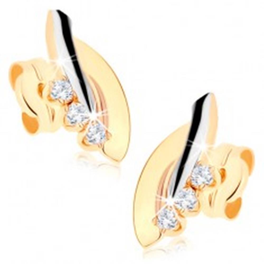 Šperky eshop Zlaté náušnice 375 - dvojfarebné oblúčiky, línia čírych zirkónov