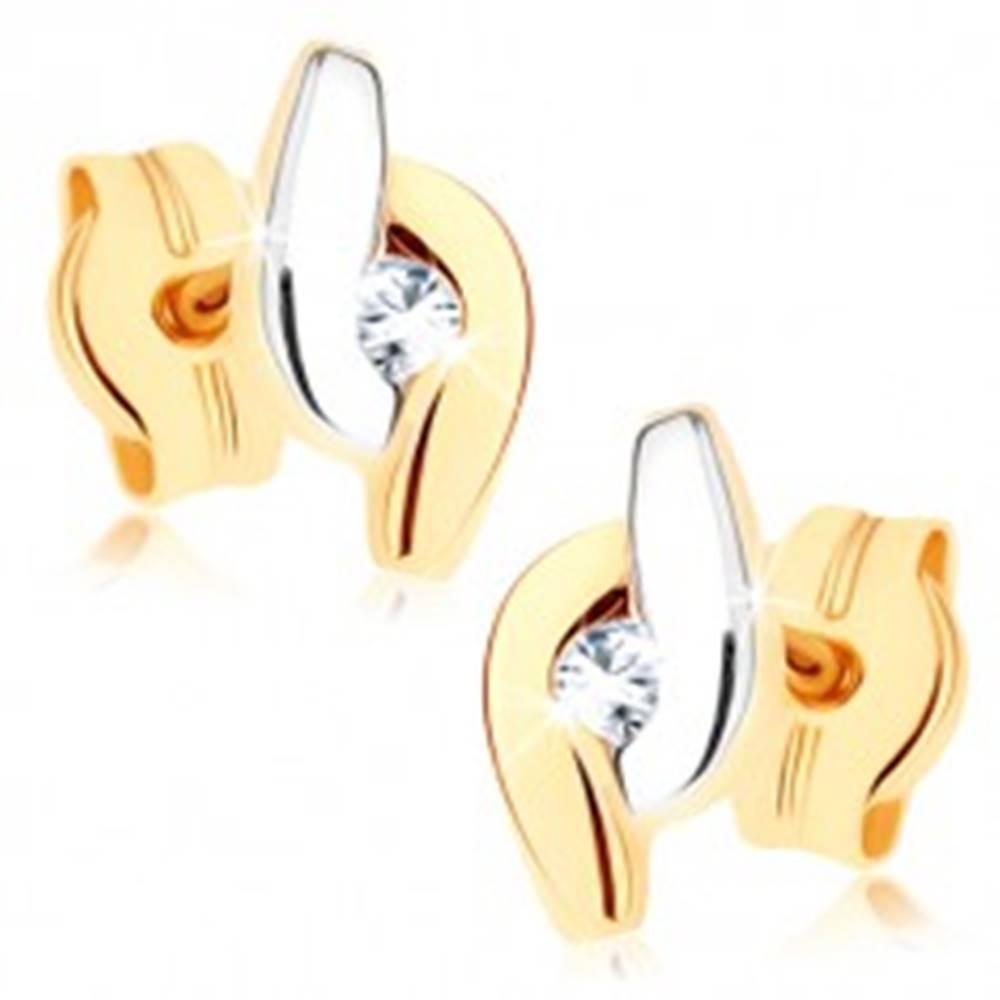 Šperky eshop Zlaté náušnice 375 - dvojfarebné zahnuté línie lemujúce číry zirkón