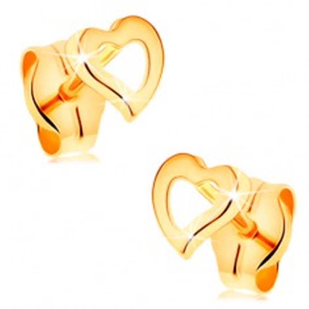 Šperky eshop Zlaté náušnice 585 - obrys asymetrického srdiečka, lesklý a hladký povrch