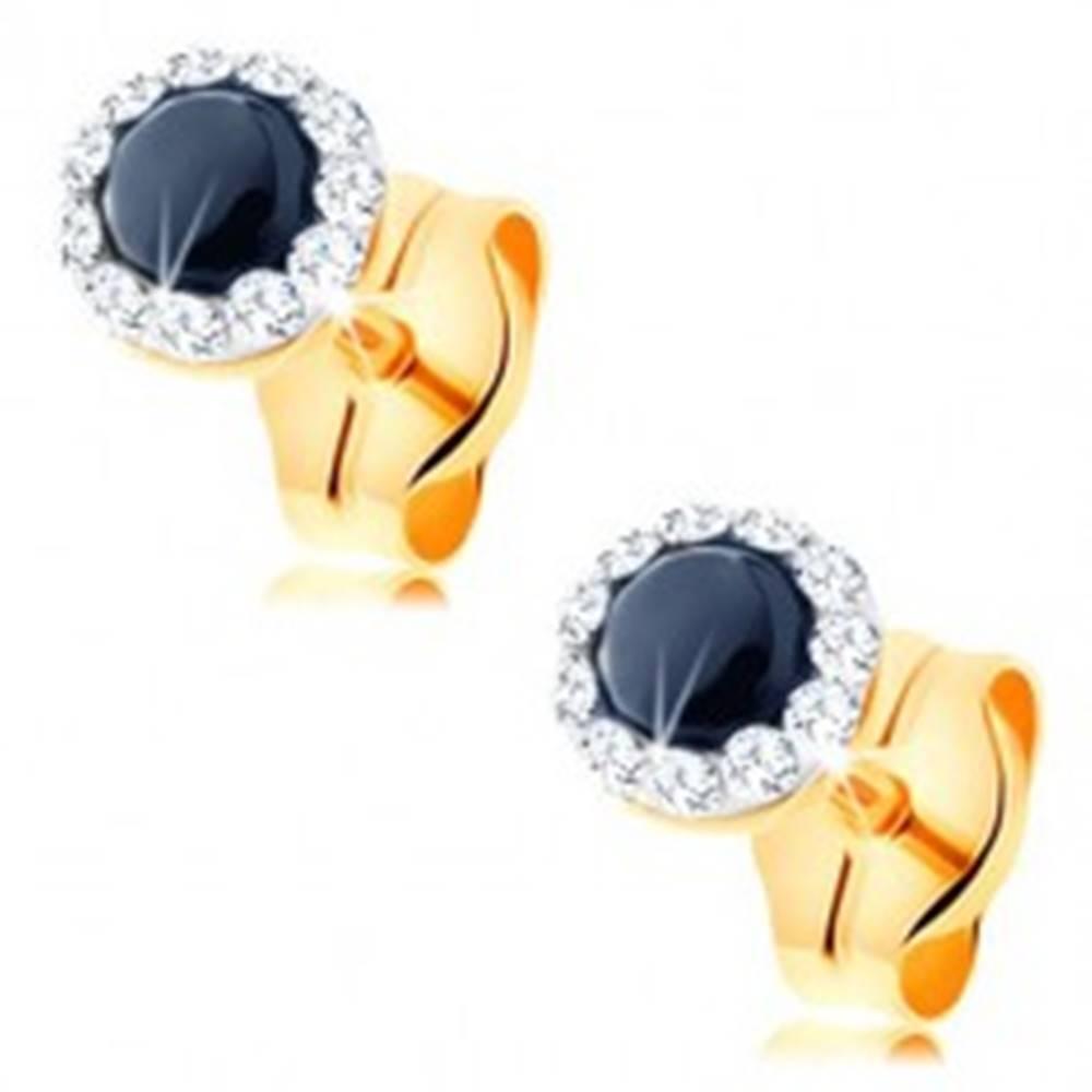 Šperky eshop Zlaté náušnice 585 - okrúhly zafír čiernej farby, číre Swarovského krištáliky