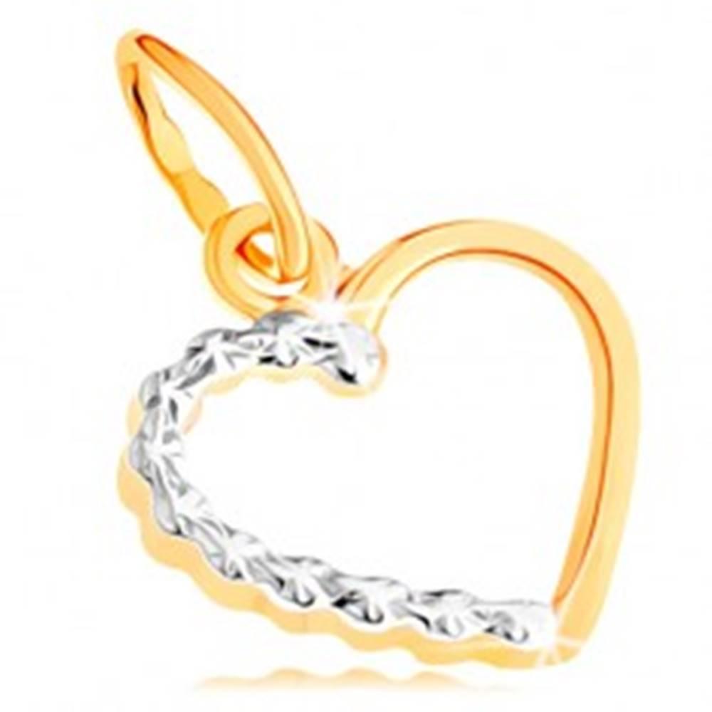 Šperky eshop Zlatý prívesok 585 - kontúra súmerného srdiečka, dvojfarebné prevedenie