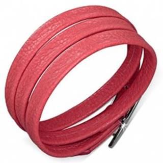 Červený náramok z umelej kože, lesklá pracka v striebornej farbe