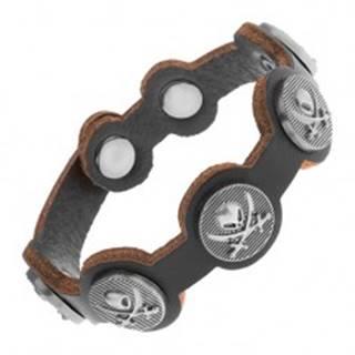 Čierny náramok zo syntetickej kože, oceľové kruhy s lebkou a mečmi