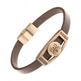 Hnedý kožený náramok, známka mosadznej farby - pavúk v kruhu, grécky kľúč