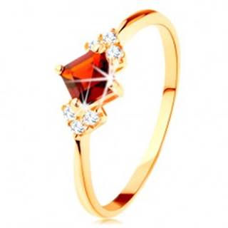 Ligotavý prsteň v žltom 14K zlate - červený granátový štvorček, číre zirkóniky - Veľkosť: 49 mm