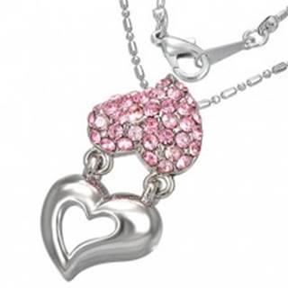 Náhrdelník - držiace sa kovové a zirkónové srdcia, ružové zirkóny
