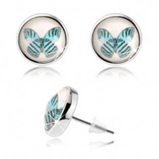 Náušnice cabochon, vypuklé sklo, modrý motýľ s čiernymi pásmi, biely podklad