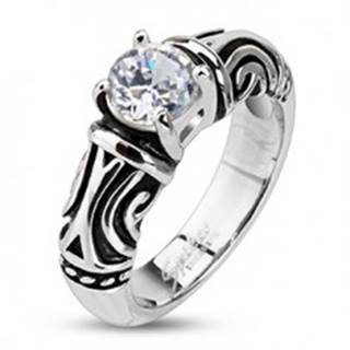 Oceľový dekoratívny patinovaný prsteň so zirkónom - Veľkosť: 48 mm