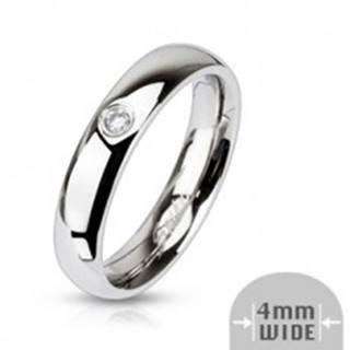 Oceľový lesklý prsteň - číry zirkón, 4 mm - Veľkosť: 48 mm